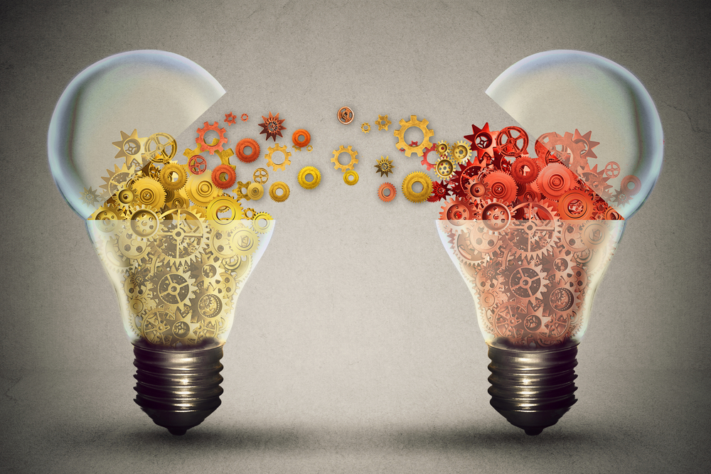 Idea exchange concept. Ideas agreement Investing in business innovation and financial commerce backing of creativity. Open lightbulb icon with gear mechanisms. Funding potential innovative growth.jpeg